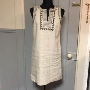 Ann Taylor Embroidered Linen V-Neck Shift Dress